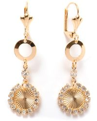 Peermont - Gold & Crystal Circle Drop Earrings - Lyst