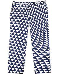 Prada   Women's Cotton Geometric Design Pants Navy White   Lyst