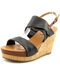 Corso Como - Deploy Women Open Toe Leather Black Wedge Sandal - Lyst