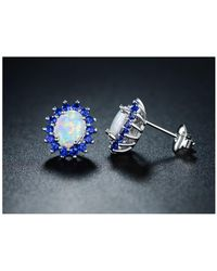 Peermont - 18k White Gold Plated White Fire Opal & Genuine Blue Spinel Flower Stud Earring - Lyst