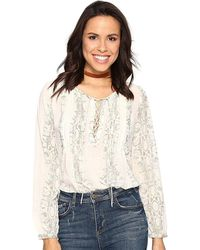 Lucky Brand - Pintucked Lace Up Long Sleeve Top Blouse - Lyst