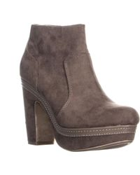 Madden Girl - Mg35 Corryy Platform Block Heel Ankle Boots, Taupe - Lyst