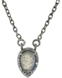 Adornia - Labradorite And Diamond Mini Pear Shaped Necklace - Lyst