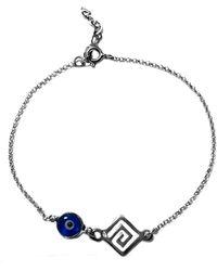 "Jewelry Affairs - Greek Key Double Sided Evil Eye Adjustable Bracelet Sterling Silver, 7"" To 8.5 - Lyst"