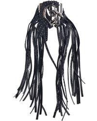 Roberto Cavalli - Black Leather Gunmetal Studded Horse Fringe Bracelet - Lyst