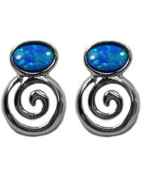 Jewelry Affairs - Sterling Silver Greek Spiral Key With Synthetic Opal Earrings, 10 X 14mm - Lyst