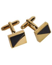 Givenchy - Gold Plated Brass Rectangle Black Enamel Cufflinks - Lyst