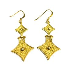 Jewelry Affairs - Sterling Silver 18 Karat Gold Overlay Byzantine Style Triangle Drop Earrings - Lyst