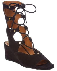 Chloé - Foster Lace-up Suede Wedge Sandal - Lyst