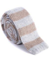 Brunello Cucinelli - Mens Brown Grey Stripe Skinny Tie - Lyst