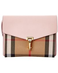 Burberry - Macken Small Leather & House Check Crossbody - Lyst