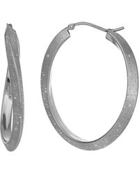Jewelry Affairs - Sterling Silver Rhodium Plated With Brushed Diamond Dust Finish Wavy Oval Hoop Earrings - Lyst