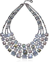 Antica Murrina - Atelier Byzantium - Grey Murano Glass & Silver Leaf Choker - Lyst