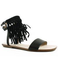 Splendid - Womens Spl-taryn Black Ankle Strap Flats - Lyst