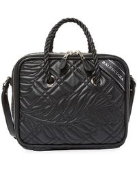 3a3b08e1501f Lyst - Balenciaga Blanket Square Medium Aj Quilted Tote Bag in Black