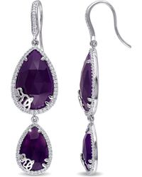 Julianna B - 4/5 Ct Diamond Tw And Purple Chalcedony Charm Earrings - Lyst