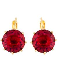 Les Nereides - La Diamantine Grenadine Round Stone French Hook Earrings - Lyst