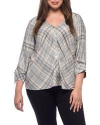 Bobeau - Kit Tie Sleeve Plus Size Blouse - Lyst