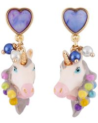 Les Nereides - Unique Unicorn Face With Hair Curler In Its Mane Earrings - Lyst