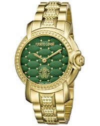 Roberto Cavalli - Womens Gold Watch With Green Dial - Lyst