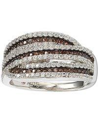Suzy Levian - Sterling Silver White And Chocolate Cubic Zirconia Intertwined Ring - Lyst