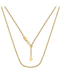"""Jewelry Affairs - Sterling Silver Yellow Tone Plated 22"""" Sliding Adjustable Rope Chain Necklace, 1.5mm - Lyst"""
