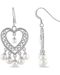 Catherine Malandrino - White Freshwater Cultured Pearl Chandelier Heart Earrings - Lyst