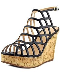 J/Slides - Nikki Black Leather Caged Wedges - Lyst
