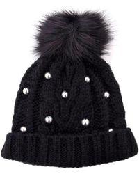Guess - Women's Black Faux Leather Hat - Lyst