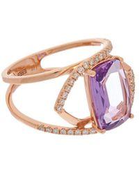 Effy - Fine Jewellery 14k Rose Gold 3.38 Ct. Tw. Diamond & Amethyst Ring - Lyst