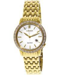 Citizen - Women's Eco-drive Ew2282-52d Gold Stainless-steel Japanese Quartz Fashion Watch - Lyst
