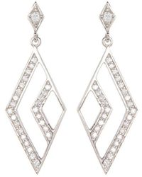 Adornia - Sterling Silver And Swarovski Crystal Open Marquis Drop Earrings - Lyst
