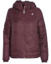 K-Way - Women's Burgundy Polyamide Down Jacket - Lyst