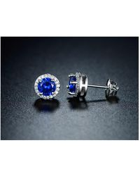 Peermont - 18k White Gold Plated Round Sapphire Spinel Stud Earrings - Lyst