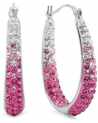 Amanda Rose Collection - Sterling Silver Pink And White Hoop Earrings Made With Swarovski Crystals - Lyst