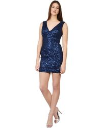 La Femme - Fitted Allover Sequined V-neck Ruched Mini Party Dress - Lyst
