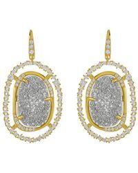 Melinda Maria - 18k Plated Grey Druzy & Cz Earrings - Lyst
