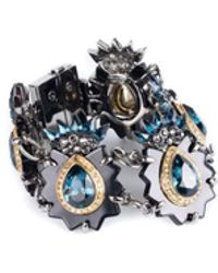 Roberto Cavalli - Womens Turquoise Stone Swarovski Crystal Bracelet - Lyst