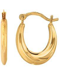 Jewelry Affairs - 10k Yellow Gold Swirl Design Oval Hoop Earrings, Diameter 15mm - Lyst