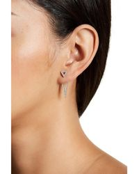 Adornia - Sterling Silver And Swarovski Crystal Triangle Drop Earrings - Lyst