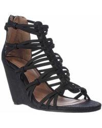 MIA - Dylon Wedge Strappy Sandals, Black Vintage Lizard - Lyst