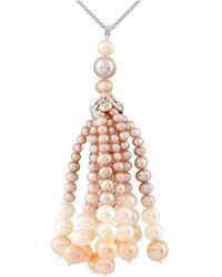 Splendid - Dangling Pearl Tassle Necklace - Lyst