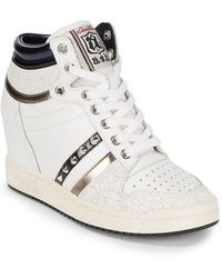 Ash - Studded Leather Wedge Sneaker - Lyst