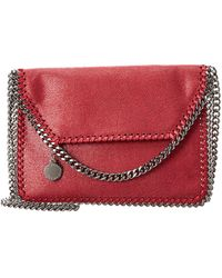 Lyst - Stella Mccartney Falabella Shaggy Deer Fringed Bucket Bag in Red c65f51e895