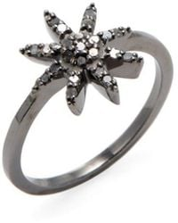Adornia - Sterling Silver And Champagne Diamond Mini Starburst Ring - Lyst