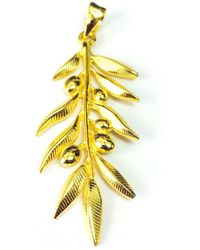 Jewelry Affairs - Sterling Silver 18 Karat Gold Overlay Plated Olive Leaf Pendant - Lyst