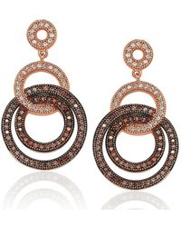 Suzy Levian - Rose Plated Sterling Silver Brown Cubic Zirconia Circle Drop Dangle Earrings - Lyst