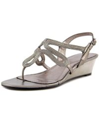 Adrianna Papell - Carlii Women Open Toe Synthetic Gold Wedge Sandal - Lyst