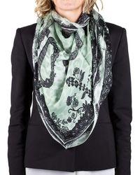 Roberto Cavalli | Women's Lace Floral Animal Print Silk Scarf Large | Lyst