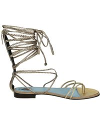 Lanvin - Women's Fwshct1cgaxye16 Gold Leather Sandals - Lyst